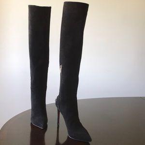 Cesare Paciotti Suede 11M PointedToe Knee hi Boots